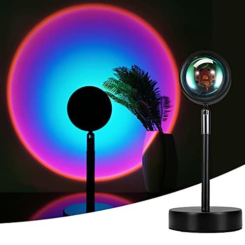 Sunset Lamp,Sunset Proyección LED Proyección, Rotación 180°, Romántico Visual, Proyector de puesta de sol, USB, lámpara de pie moderna, lámpara de noche para salón (arcoiris morado) ⭐