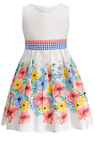 SPEINY Girls Cotton Dress Summer Casual Floral Print Skater Skirts Size 5 6 White