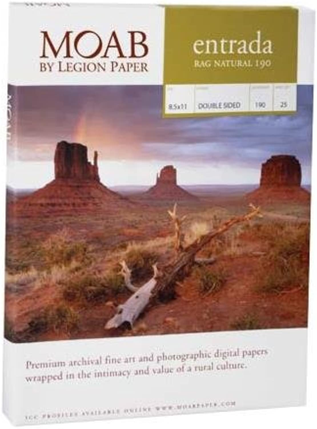 Moab Entrada Rag Natural 190 8.5x11 double sided by Moab B000UMX7S0  | Bunt,