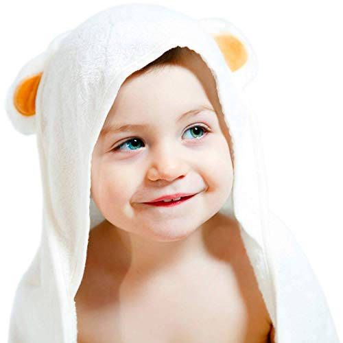 Bamboo Hooded Towel - Made from Organic Bamboo - Extra Soft & Quickly Dries Babies Sensitive Skin - Best for Girl, Boy or Newborn - Premium Bath Towels with a Cute Animal Hood