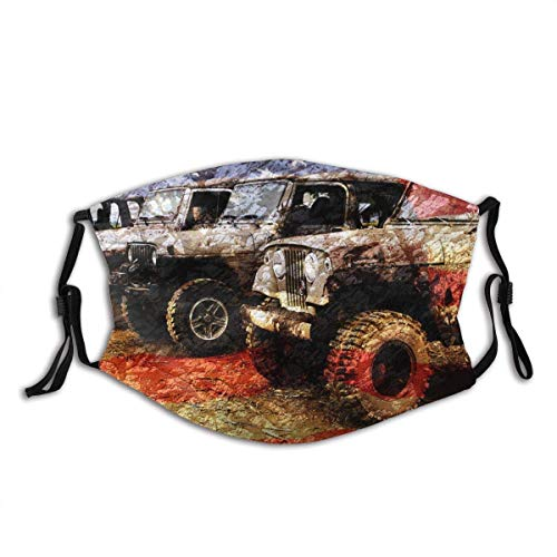 Jeep Jeeps Offroad American Flag Unisex Earloop Dust-Proof Face Cover Balaclava Mouth Cover Washable Reusable Filter