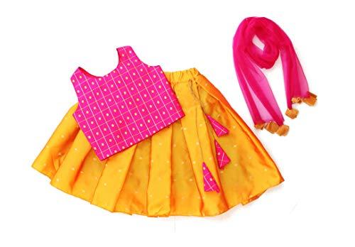 MVD Fashion Girl's Cotton Full Stitched Readymade Lehenga Choli (Diwali-01, Rani-Mustard, 2 to 3 Years)