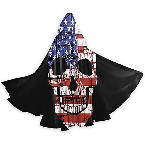 Zome Lag Amerikaanse vlag schedel cape Halloween cape met capuchon elegant met trekkoord volwassenen cool heks tuniek extra lang party cabo zwart