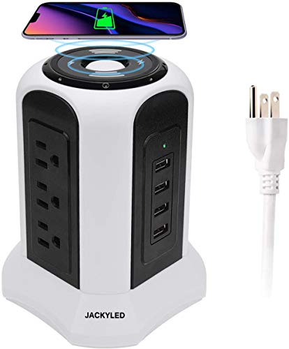 Tower Power Strip Wireless Surge Protector JACKYLED 10ft Heavy Duty Extension Cord 4.5A 4 USB 9 AC Outlets Electrical Charging Station Universal Socket for Home Office Kitchen, White Black