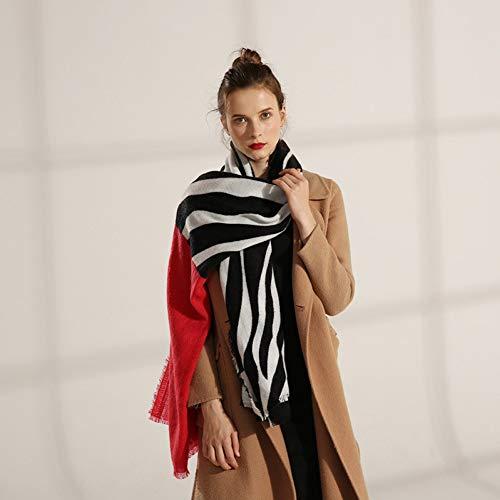 DMXYZZM Schal Schwarz Weiß Zebra Gestreiften Schal Für Frauen Warme Pashmina Winter Weibliche Schals Damen Faux Kaschmir Poncho Damen Schal