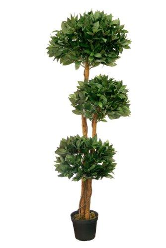 McPalms Lorbeerbaum 1,50 m künstlich Kunstbaum Kunstpflanze Echtholzstamm