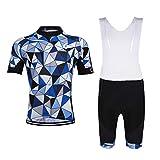 GWELL Herren Radtrikot Set Fahrrad Trikot Kurzarm + Radhose mit Sitzpolster Radsport-Anzüge Blau Karo (Set mit Weißer Träghose) M