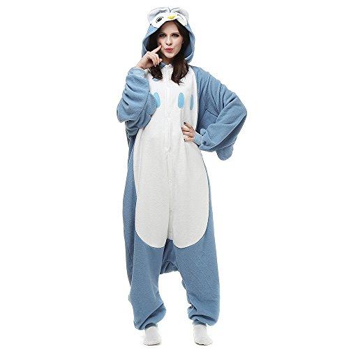 Pyjama Tieroutfit Tierkostüme Schlafanzug Tier Onesie Sleepsuit mit Kapuze Erwachsene Unisex Overall Kostüm Nachtwäsche, Blau, M(160cm-169cm)
