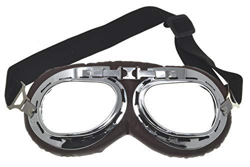 VENTURA TRADING AV1 Gafas de aviación Gafas de Moto Vintage Casco Steampunk Retro Gafas de Vuelo piloto Estilo británico de la RAF Gafas de Medio Casco