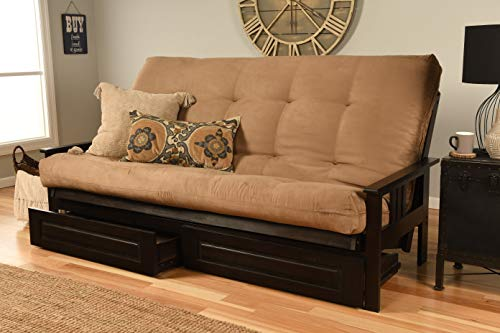 Queen Size Montreal Espresso Futon Frame w/ 8 Inch Innerspring Mattress Sofa Bed Wood Futons (Peat Mattress, Frame, Drawers (Queen Size))