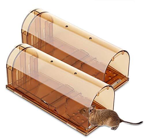 Tinzzi Mausefalle lebend 2er, Wiederverwendbare Lebendfalle 20cm groß, No-Kill-Maus, Haustiere und Kinderfreundlich, Anti-Broken-Tail-Design, Verwendung im Innen- und Außenbereich, großer Lebensraum