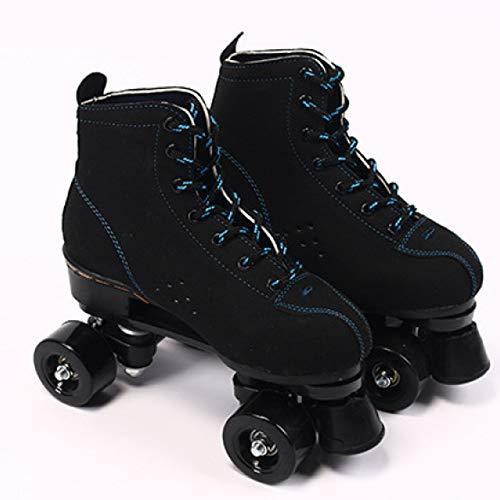 WEDSGTV Sporting Rollschuhe,Komfortables Und Atmungsaktives Zweireihige Skates,Für Mädchen Und Jungen,Black-44