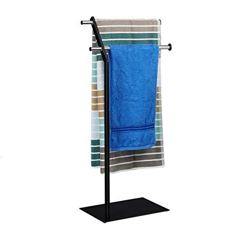 Relaxdays Handtuchhalter freistehend Chrom, edles Design, Handtuchständer zweiarmig, HBT: 88 x 42 x 24 cm, schwarz