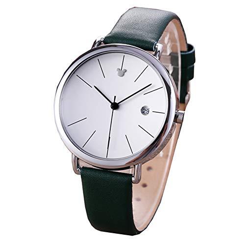 Uniseks mode eenvoudig horloge, ultradunne retro quartz analoge lederen band, dames- en herenpolshorloge, schone en eenvoudige grote wijzerplaat, roestvrijstalen kast,Man green