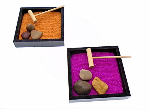Aries Boutique Miniture Zen Garden Set, Paquete de 2 Jardines Zen, relajación, jardín Zen para Principiantes.