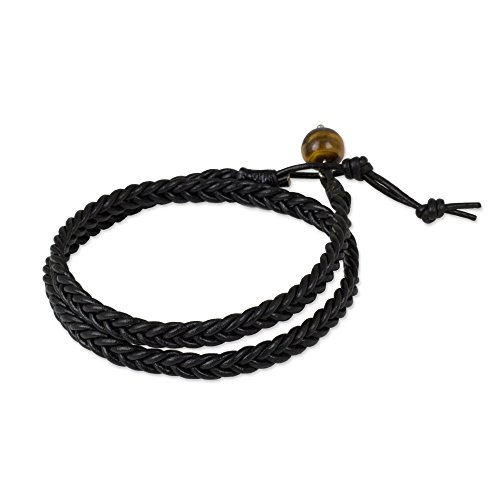 NOVICA Tiger's Eye Black Braided Leather Men's Wrap...