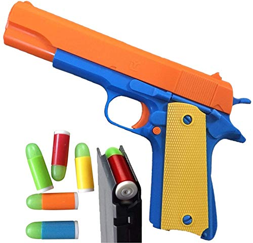 Colt 1911 Toy Gun with Ejecting Magazine and Glow Tip Bullets  Style of M1911 with Slide Action Orange Barrel for Safety Training or Play  Unique Gift Intended for Fun Not Distance or Accuracy