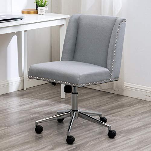 Apelila Verstellbarer Bürostuhl, moderner Stil, Stoffdrehstuhl, mittlere Rückenlehne, mit Zugring, Computer-Schreibtischstuhl für Zuhause, Büro, Arbeitszimmer (grau)