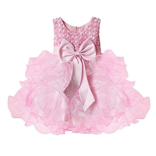 TiaoBug Baby Mädchen Prinzessin Kleid Blumenmädchen Party Kleid Festlich Tütü Hochzeit Perle Taufkleid Festkleid Gr. 68-104 Rosa 74