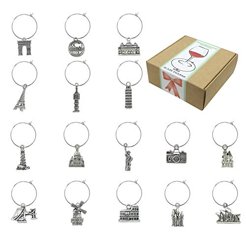 16 Piece Travel Themed Wine Glass Charms Markers,Wine Tasting Party Decoration Supplies Gift