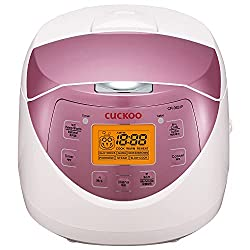 Cuckoo CR-0631F Rice Cooker, 6 Cups Uncooked, Pink and white