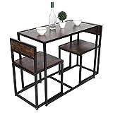 Wakects Set tavolo da pranzo in legno, set da sala da pranzo con 1 tavolo, 2 sedie, design industriale