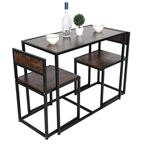 Greensen - Mesa de comedor y silla, rectangular, MDF con 2 sillas para casa, oficina, cocina, balcón