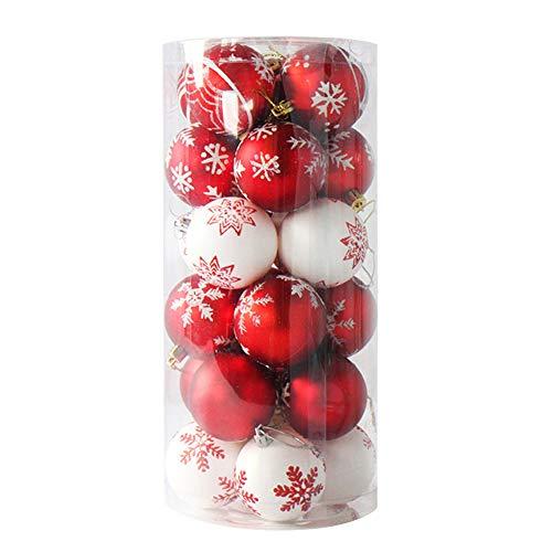 Leisial 24 Stücke 6CM Rot + Weiß Weihnachtskugel Weihnachtsbaum Anhänger Christbaumschmuck Weihnachten Anhänger Christbaumschmuck Kugeln