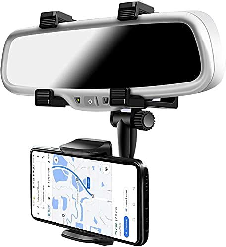 SSMART Anti Shake & Fall Prevention 360 Degree Rotation Adjustable Anti Vibration Car Phone Holder for Rear View Mirror Mount Stand – Supports Mobile Up to 6.5 inch Smartphones