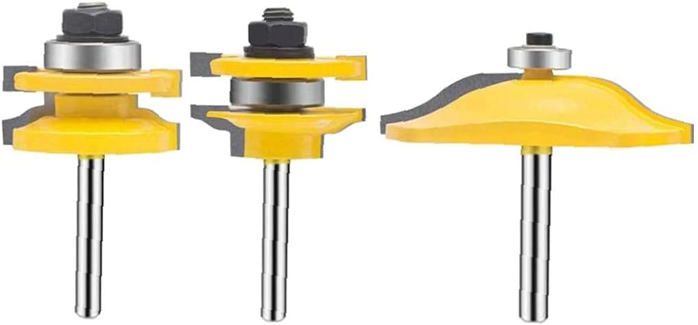 Juego de bits de enrutador Panel Elevado Ruta de enrutador Puertas Groove Tongue Router T Forma de Madera Cortador de fresado para carpintería 3 Paquetes