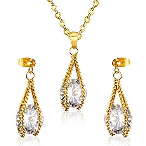 HMANE Conjuntos de Joyas de circonio para Boda Dubai para Mujer, Pendientes Colgantes de Acero Inoxidable a la Moda, Collar, Conjunto de Joyas africanas