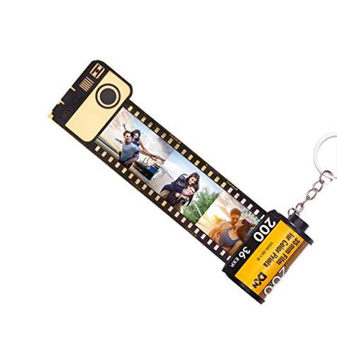 Llavero con álbum de fotos, llavero personalizado con imagen de cámara multicolor personalizada, rollo de película, llavero, 10 fotos