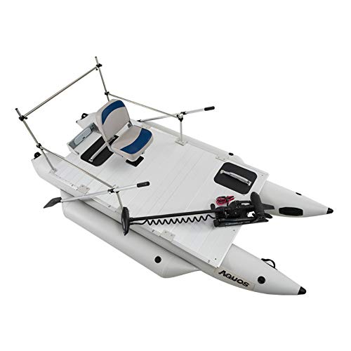 Amazing Deal AQUOS Heavy-Duty Military Marine Grade PVC 12.5 ft Grey Inflatable Pontoon Boat with Gu...