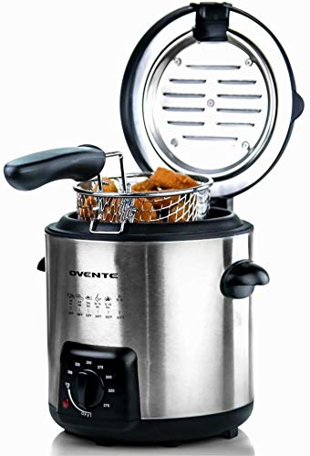 Ovente Electric Deep Fryer with 0.9 Liter Removable Stainless Steel Basket and Adjustable Temperature Control, 840 Watt Concealed Heating Element, Compact and Easy to Store, Silver (FDM1091BR)