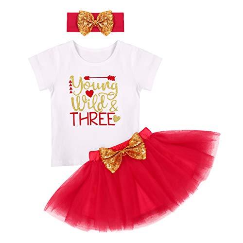 FYMNSI - Camiseta de manga corta para bebé con falda de tutú y cinta con lazo, 3 piezas