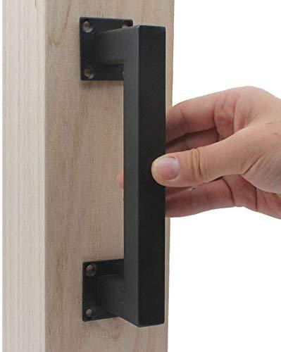 MING scorrevole Barn Door Handle Set Antico Heavy Solid ghisa Maniglia (viti incluse) (black)