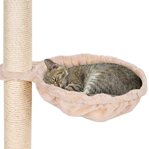 Happypet® Liegemulden für Kratzbaum 35 cm grosser Durchmesser, Schlafmulde, Stabiler Stahlrahmen, mit weichem Plüsch bezogen, Zubehör für Katzen, Ersatzteil, Liegeplatz, Beige