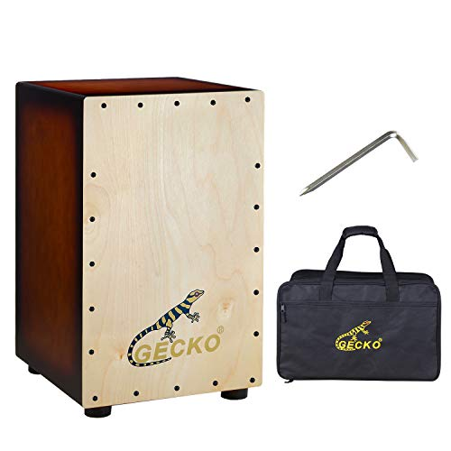 GECKO Cajon BOX Drum-Wooden Percussion Box,with Internal Adjustable Guitar Strings ,2-YEAR WARRANTY