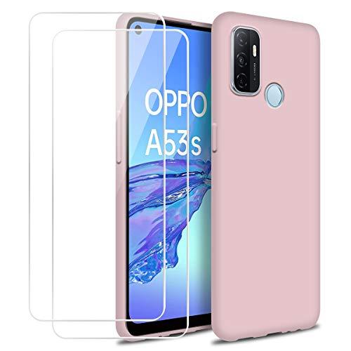 Hülle kompatibel mit Oppo A53 2020, Rosa Weich Flüssigkeit Silikon Handyhülle Schutzhülle mit Zwei Gehärtetes Glas Schutzfolie Bildschirmschutzfolie für Oppo A53 / A53S 2020