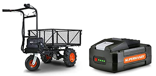 SuperHandy Utility Service Cart Power Wagon Wheelbarrow Electric 48V DC Li-Ion Powered 500Lbs Load and 1000Lbs+ Hauling Capacity Farm and Garden All Purpose Modular Cargo Bed with Extra Battery