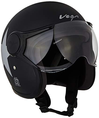 Vega Jet Star W/Visor Open Face Helmet (Dull Black and Silver, Large)