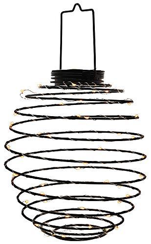 zeitzone LED Lampion Solar Metall Spirale Schwarz Laterne zum Aufhängen Warmweiß Ø 22cm