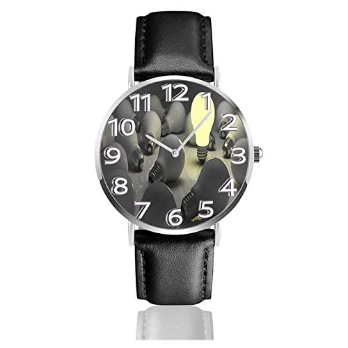 LREFON Armbanduhr Unterschiedlich Glühbirne Langlebiges PU-Lederarmband Quarz Business-Uhren Unisex Casual Armbanduhr