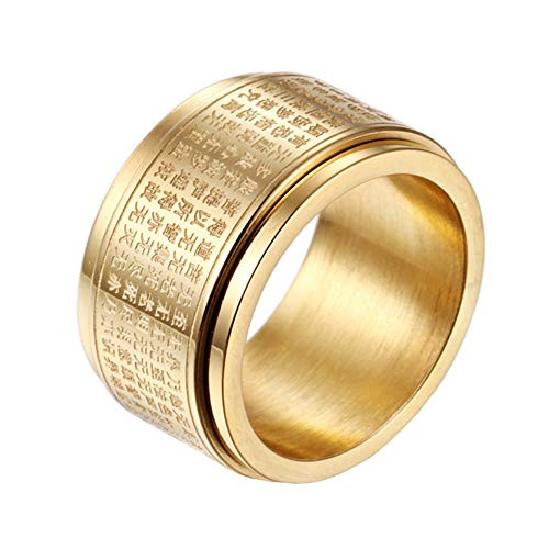 INRENG Men's Stainless Steel Buddhist Mantra Chinese Heart Sutra Spinner Ring 12mm Wide Amulet Bands Gold Size 8