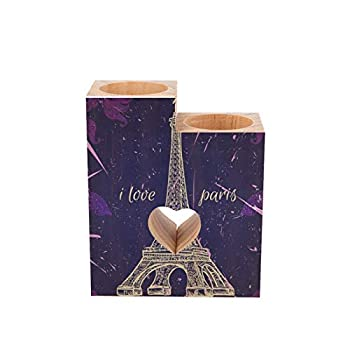 Wooden Candle Holder Eiffel Tower Floral Galaxy Retro Paris Heart Shaped Couple Wood Tealight Candle Holder Table Decorative Candle Gift for Birthday Anniversary Day Wedding Home Decor
