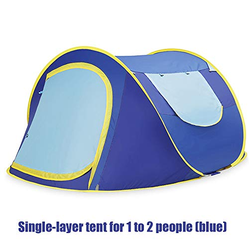 LYWL Schneller BAU eines kuppelförmigen Pop-up-Zeltes für 1-2 Personen Rucksack Zeltstange Wind- und wasserfest für Camping Trekking Klettern,Blue