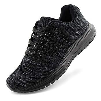 JABASIC Women Lightweight Knit Running Shoes Athletic Walking Sneakers  7,Black