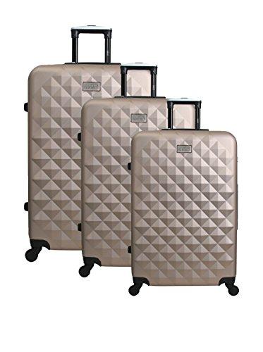 UNANYME GEORGES RECH - Maleta Estrasburgo, conjunto de 3 maletas, 70 cm, 96 L, Champán