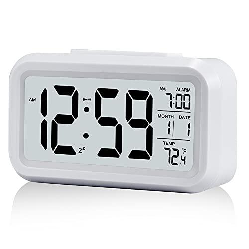 """Sveglia, piccola sveglia digitale, display LCD da 5,1"""" con minuti di snooze, calendario, indicatore di temperatura, comodino, facile da installare per il viaggio, la camera da letto, la cucina"""