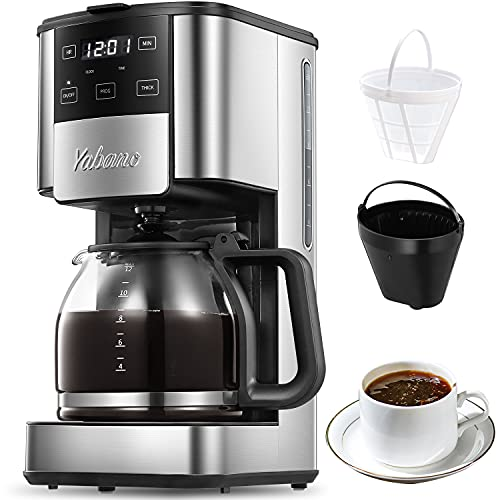 Programmable Coffee Maker, 12 Cups Coffee Pot with Timer and Glass Carafe, Brew Strength Control, Keep Warming, Mid-Brew Pause, Espresso Coffee Machine with Permanent Coffee Filter Basket, Anti-Drip System